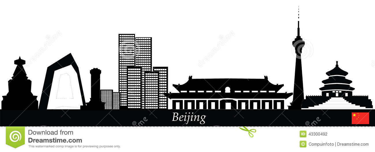 Beijing Skyline Stock Vector.