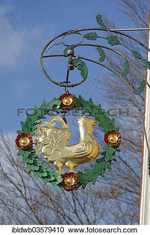 "Stock Photography of ""Hanging sign of Hotel Gasthof Schattenhofer."