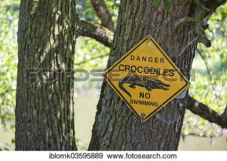 "Stock Photograph of ""Warning sign """"""""Danger crocodiles No."