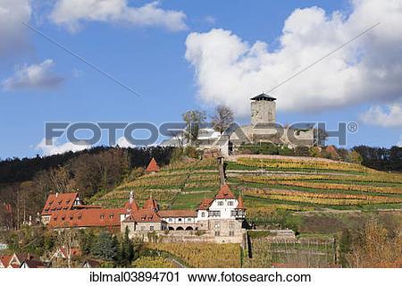"Stock Photography of ""Burg Hohenbeilstein castle in autumn."