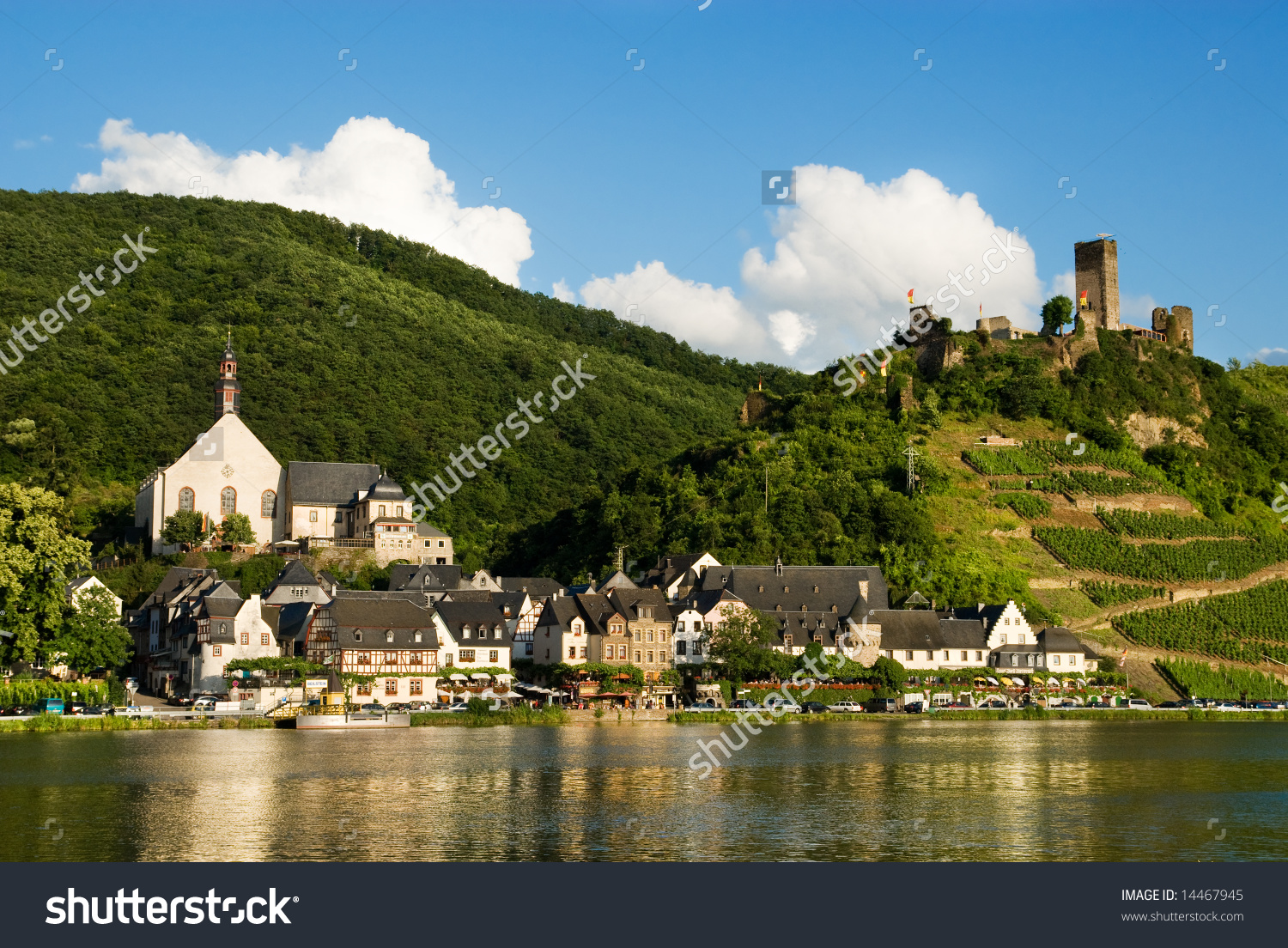 Beautiful Village Beilstein Germany Along Mosel Stock Photo.