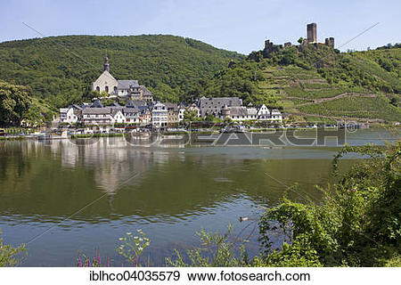 "Stock Photograph of ""Townscape, Moselle, right Metternich fortress."