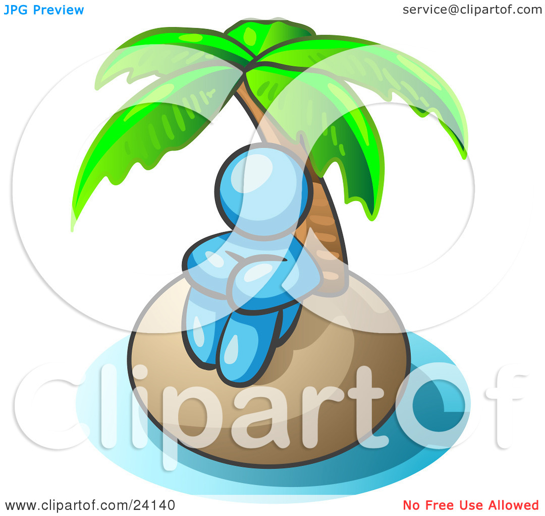 Clipart Illustration of a Light Blue Man Sitting All Alone With A.