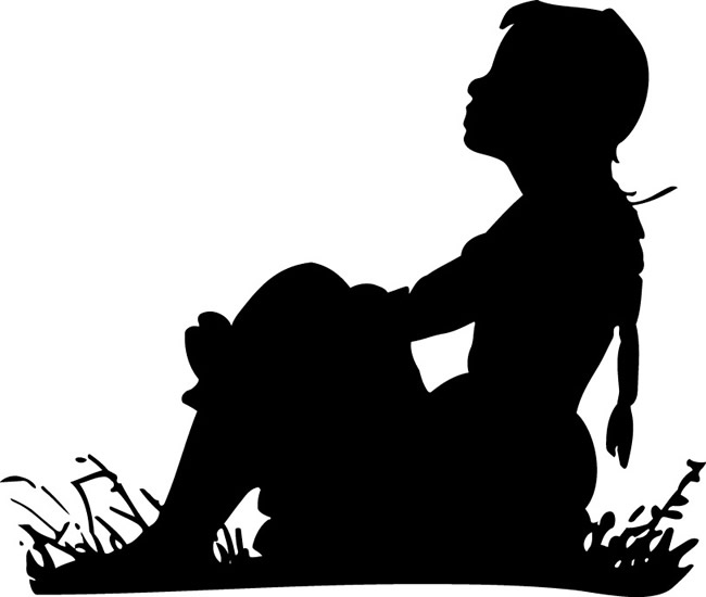 Woman alone clipart.