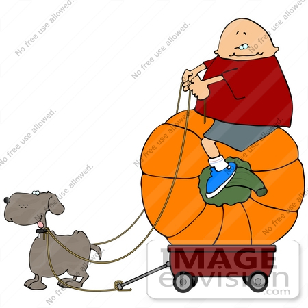 Boy Riding a Pumpkin in a Wagon, Being Pulled by His Dog Clipart.