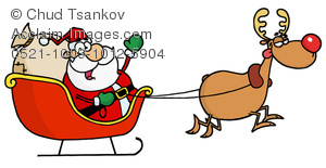 Clipart Image of A Waving Santa Sitting In a Sleigh Being Pulled.