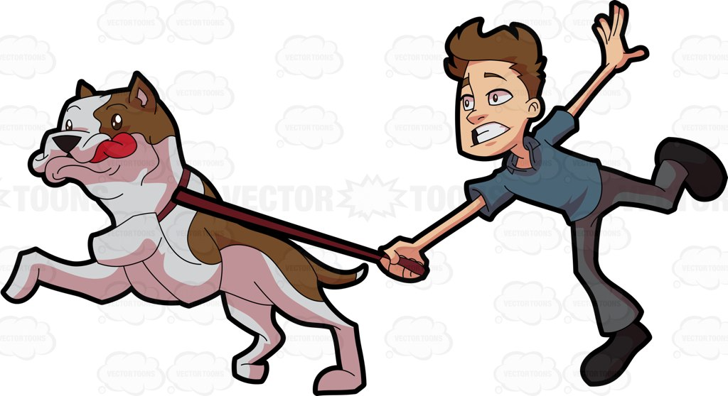 A Man Being Pulled And Carried Away By An Excited Pet Dog Cartoon.