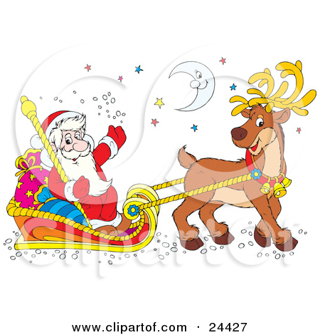 Clipart Illustration of Santa Smiling And Waving, Holding A Staff.