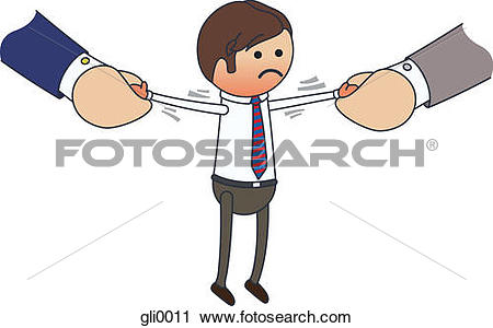 Clipart of A distressed businessman being pulled in both.