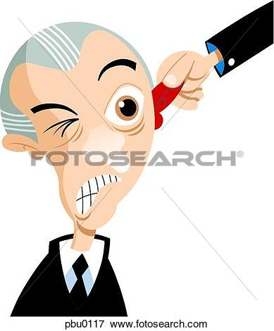 Stock Illustration of A man being pulled by the ear pbu0117.