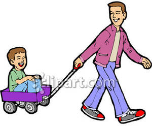 Dog pulling cart clipart.