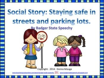 Crossing the Street and Parking Lot Safety Social Story and.