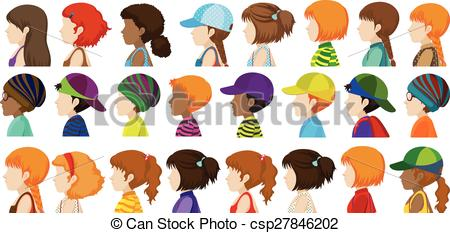 Vector Clipart of Sideview of the different faces of human beings.