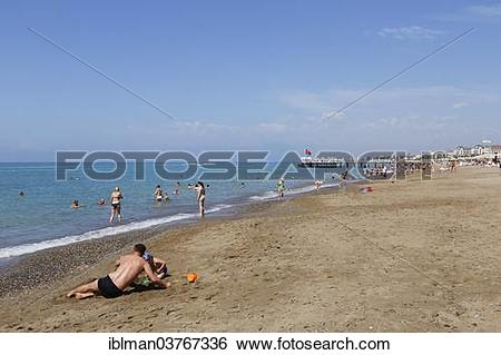 Stock Images of Beach, Belek, Turkish Riviera, Antalya Province.