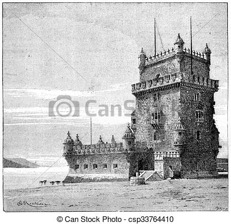 Clipart of Belem Tower, in Lisbon, Portugal, vintage engraving.