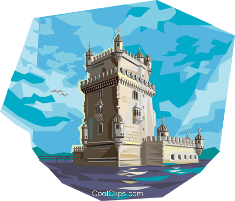 Portugal Belem tower Royalty Free Vector Clip Art illustration.