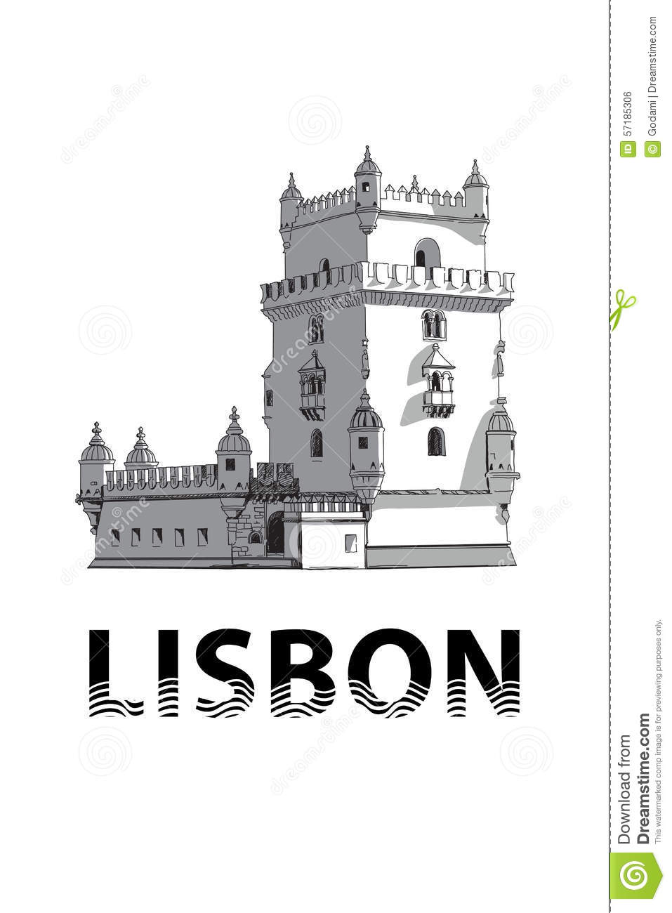 The Sketch Of Belem Tower In Lisbon Stock Vector.