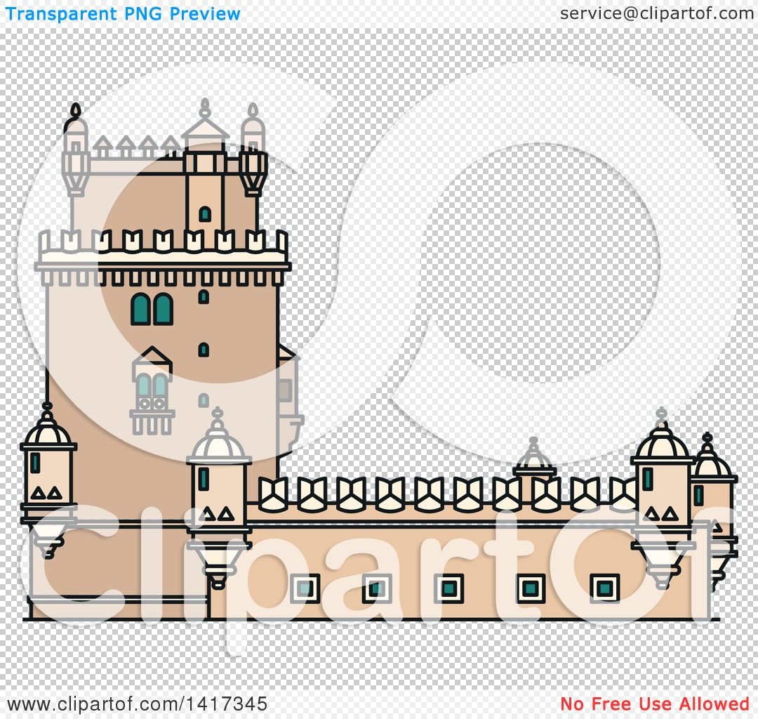 Clipart of a Portugal Landmark, Belem Tower.