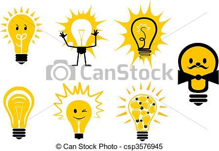 Clipart Vektor von Symbole, Licht, Birnen.