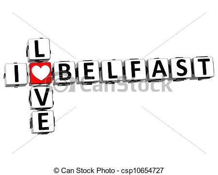 Clip Art of 3D I Love Belfast Crossword on white background.