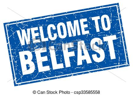 Clipart Vector of Belfast blue square grunge welcome to stamp.