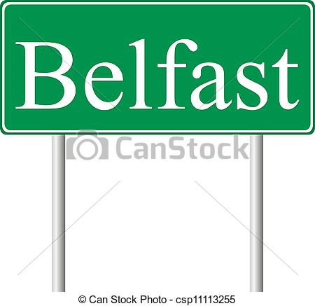 Clipart Vector of Belfast green road sign isolated on white.