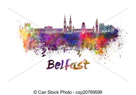 Stock Illustration of Belfast skyline in watercolor splatters.