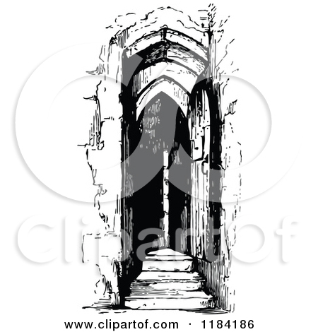 Clipart of a Retro Vintage Black and White Belfry Door.