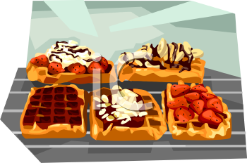 Fancy Waffles with Toppings Clip Art.