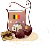 Drawing of Chocolates with a signboard of Belgian flag u17303183.