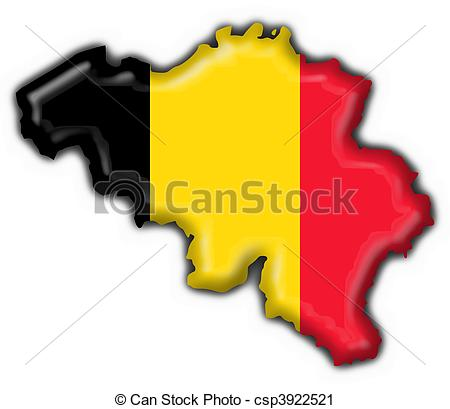 Clipart of belgium button flag map shape.