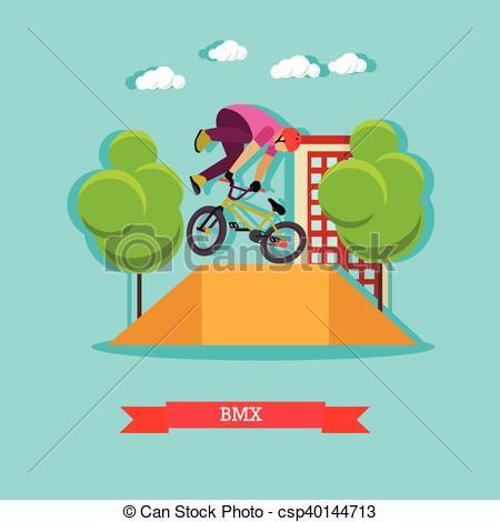 Vector Clip Art of Guy makes a stunt on BMX, flat design.