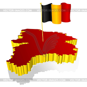 dimensional image map of Belgium with national flag.