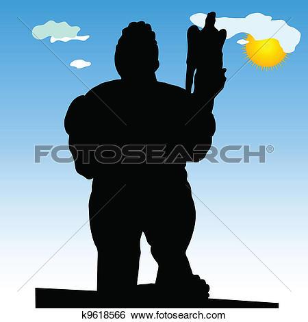 Clip Art of monument of Belgrade winner in close silhouette vector.