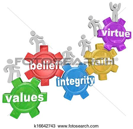 Stock Photo of Gears Going Up Values Belief Integrity Faith Virtue.