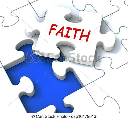 Clipart of Faith Jigsaw Showing Religious Spiritual Belief Or.