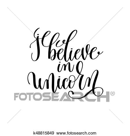 I believe in unicorn black and white handwritten lettering Clip Art.