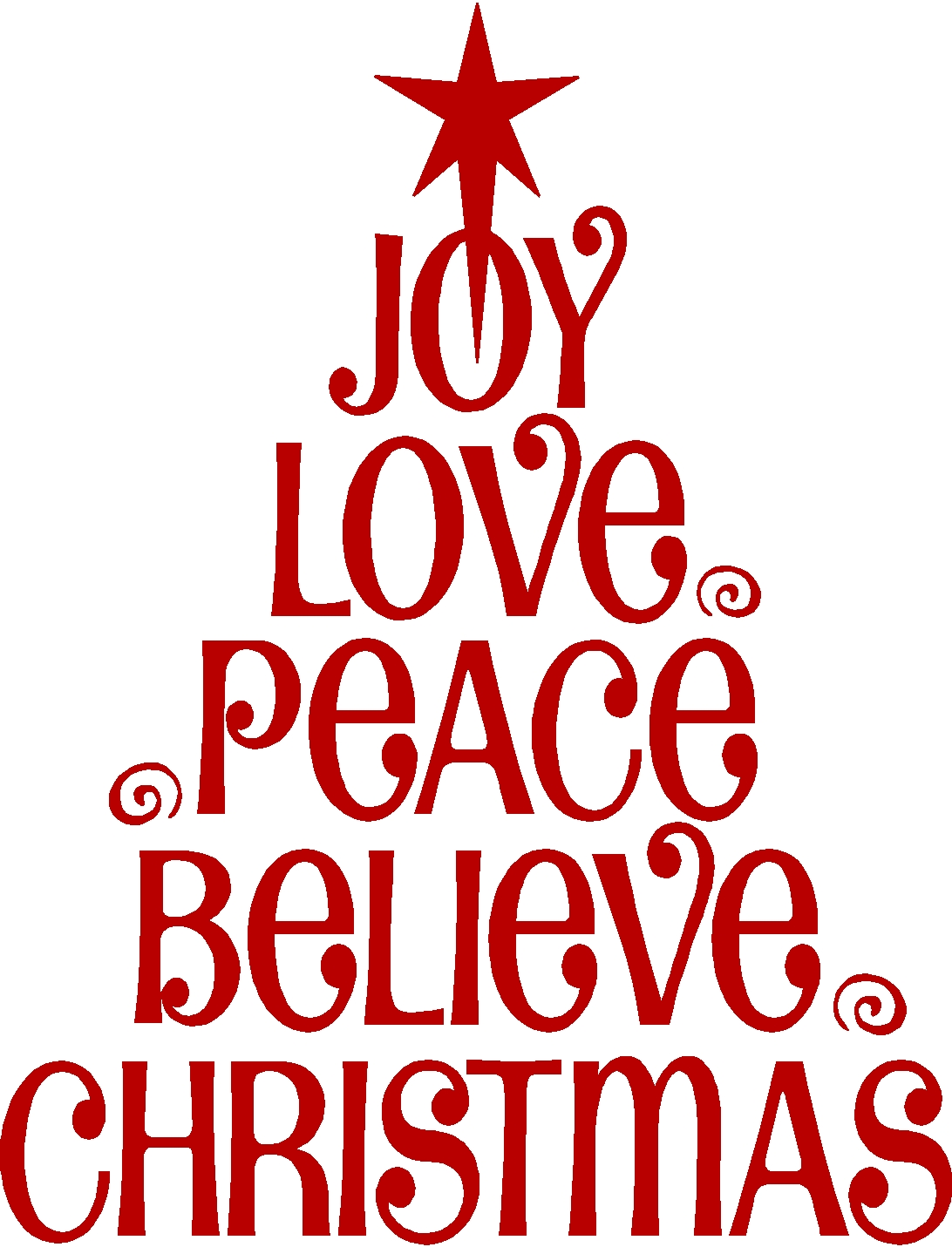 Peace Love Joy Christmas Clipart.