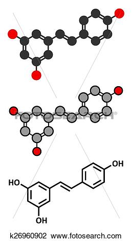 Clipart of Resveratrol molecule. Present in many plants, including.