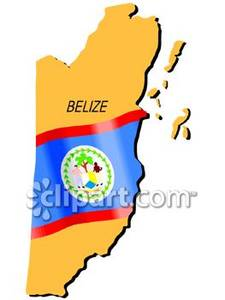 of Belize With Flag.