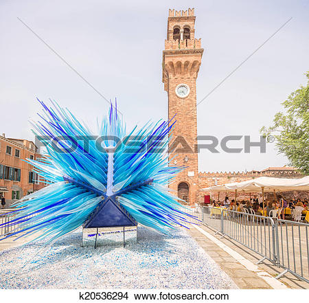 Stock Photo of Glass statue of blue star on Murano or Burano.