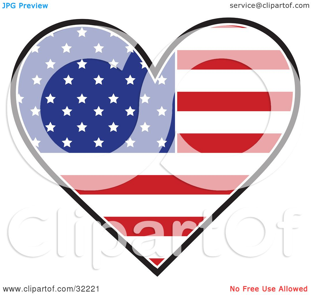 Clipart Illustration of a Heart Shaped American Flag With The Red.