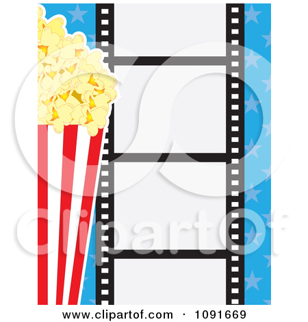 Clipart Movie Film Strip With Buttered Popcorn And Blue Stars.
