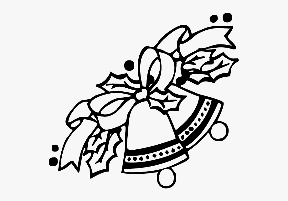 Latest Christmas Bells Clipart Black And White Image.