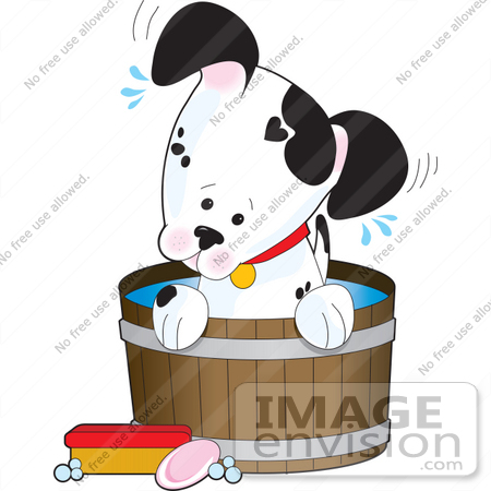 Clip Art Graphic of an Adorable Little Dalmatian Puppy Dog Taking.