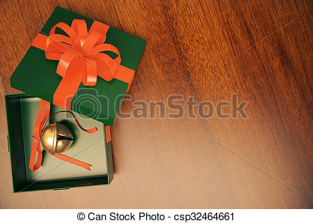 Stock Illustration of Green gift box with jingle bell inside on.