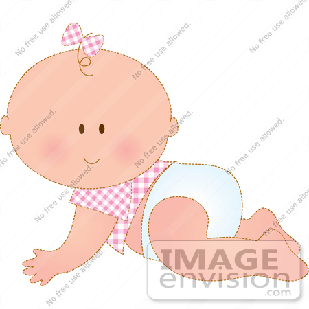 Clipart Of A Cute Baby Girl In Pink, A Bow On Her One Strand Of.