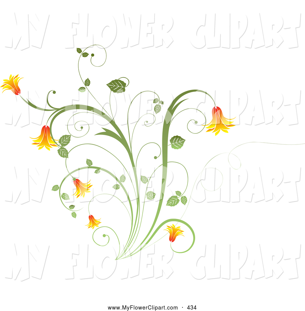 Clip Art of a Pretty Orange Bell Flowers on a Green Plant over a.