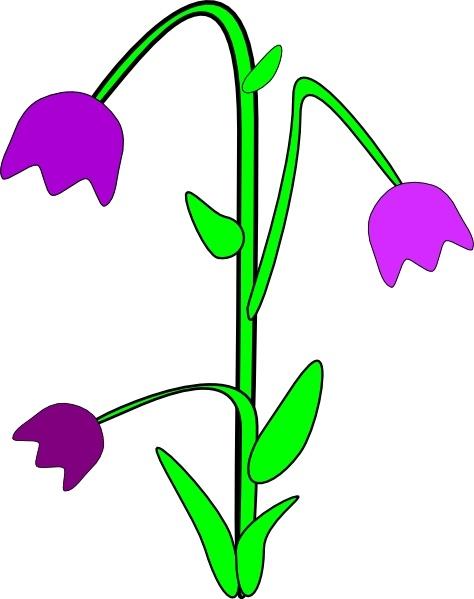 Purple Bell Flowers clip art Free vector in Open office drawing.