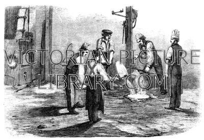Victorian illustration showing a picture of a bell foundry with.